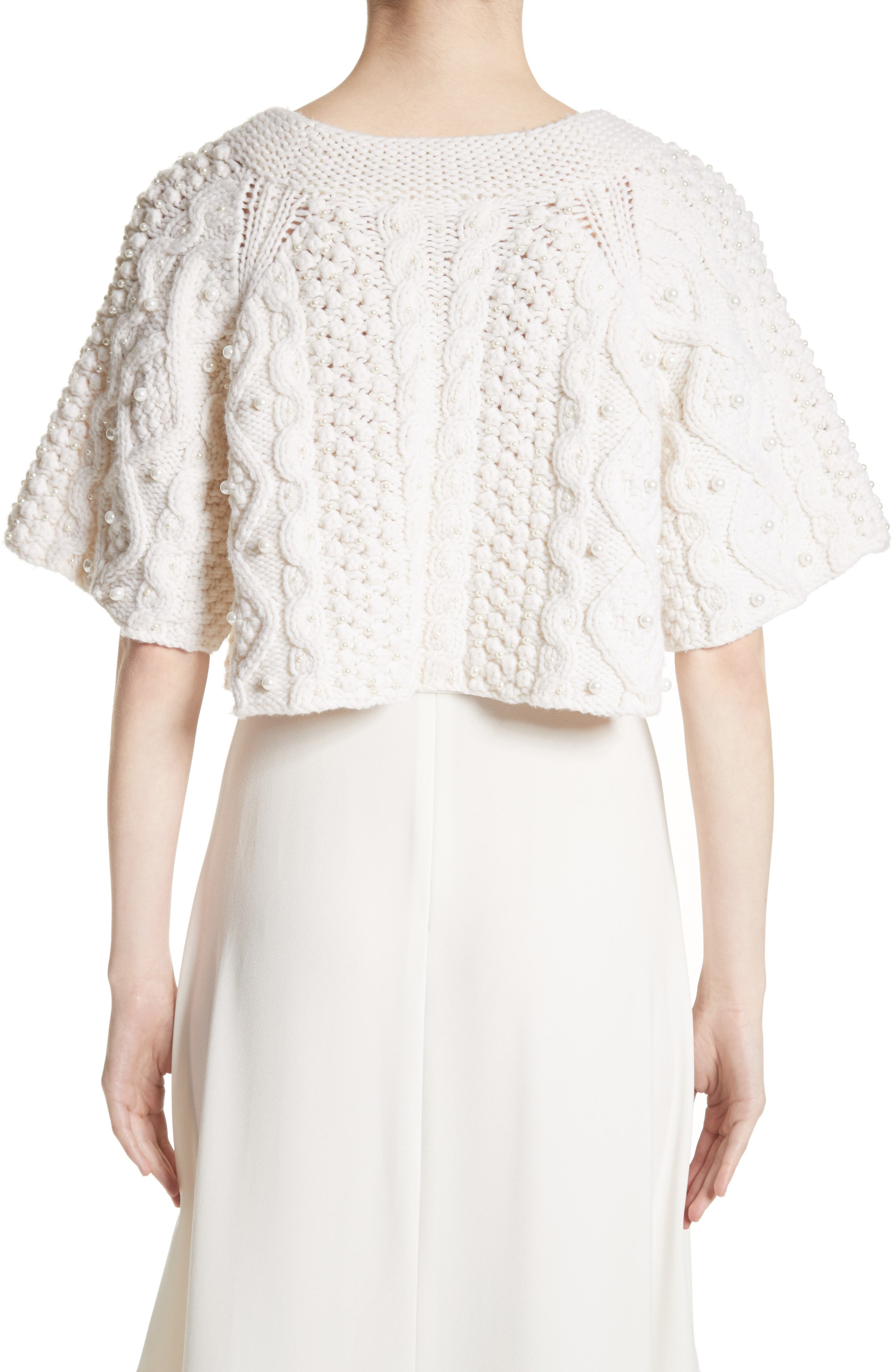 ,                             Cable Knit Wool & Cashmere Crop Sweater,                             Alternate thumbnail 2, color,                             900