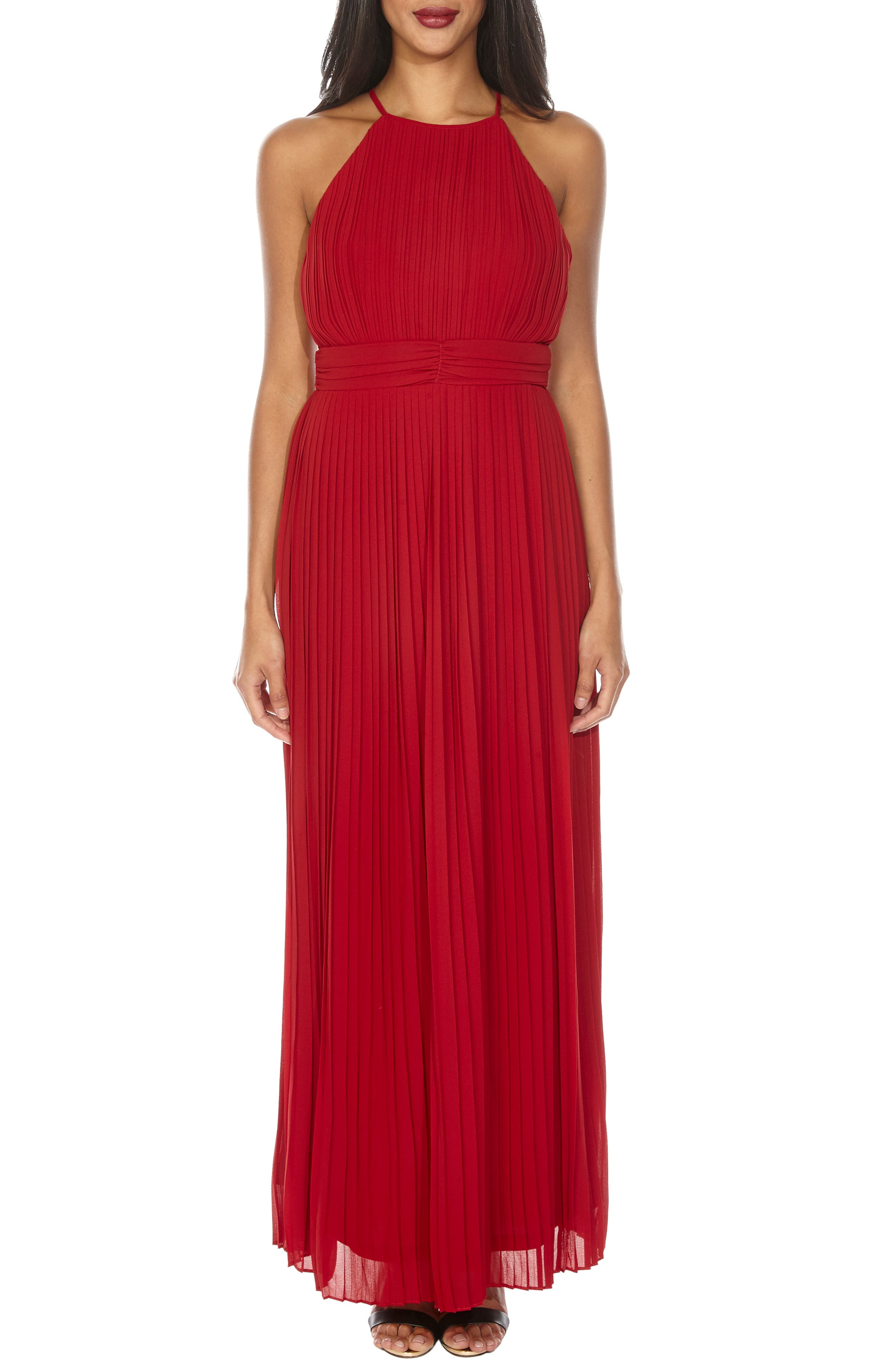 Tfnc Serene Sleeveless Pleat Gown, Burgundy