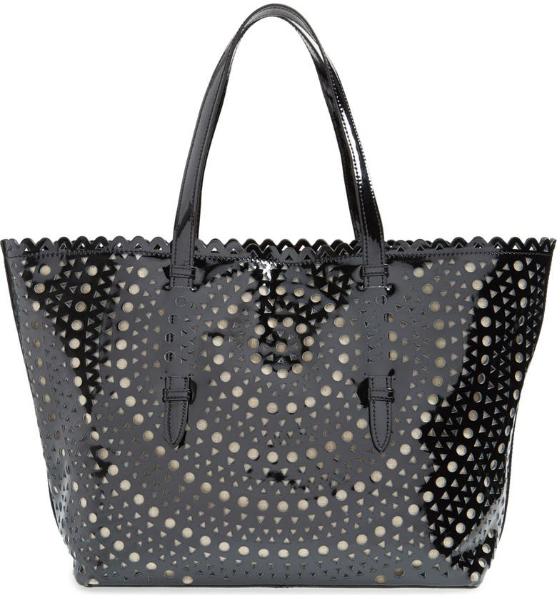 SONDRA ROBERTS Perforated Leather Tote, Main, color, 001