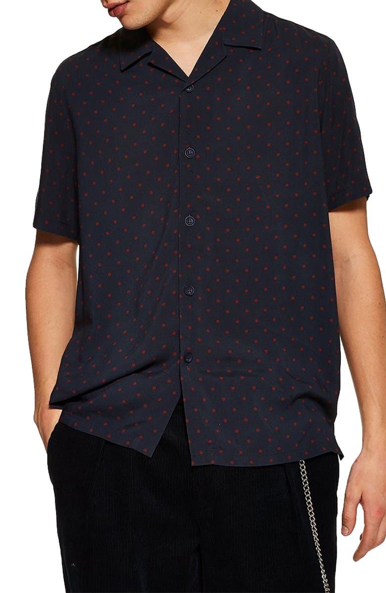TOPMAN Polka Dot Short Sleeve Shirt, Main, color, NAVY BLUE MULTI