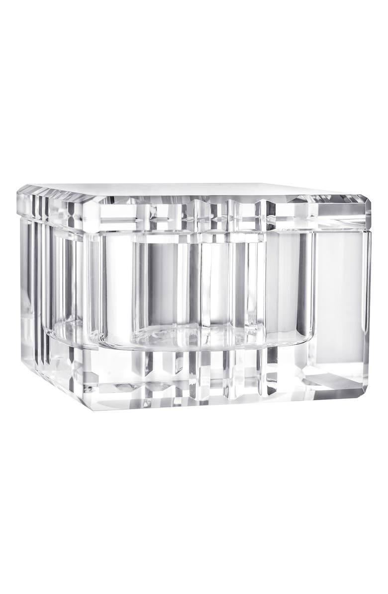 ORREFORS 'Ice' Glass Box, Main, color, WHITE