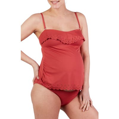 Cache Coeur Bloom Tankini Maternity Swimsuit, Red