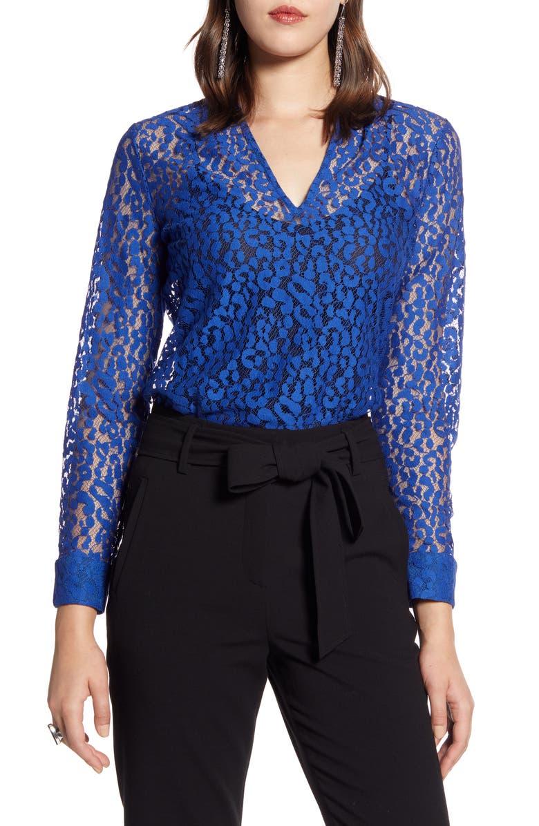 HALOGEN<SUP>®</SUP> V-Neck Lace Top, Main, color, BLUE SURF