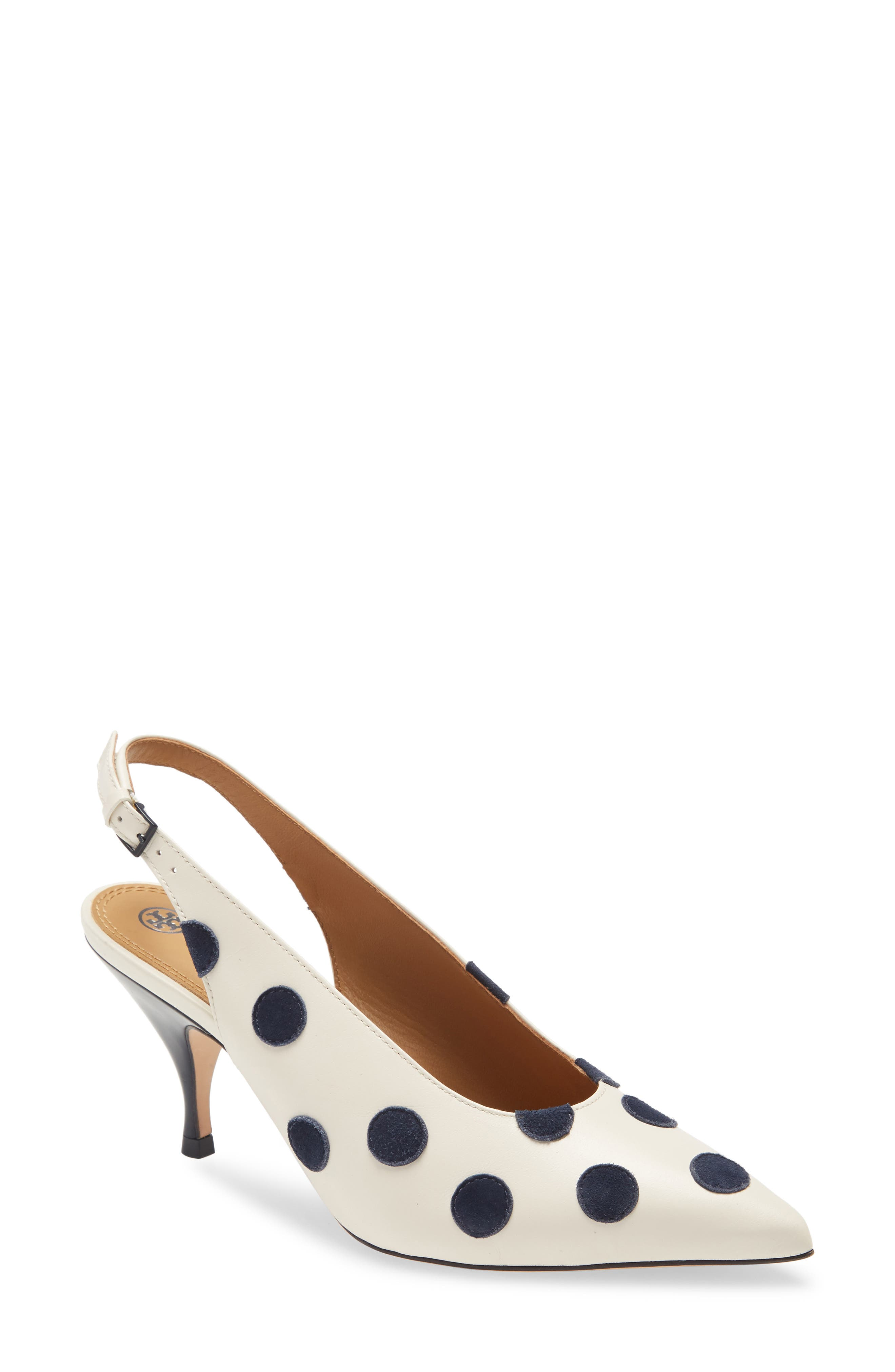 A leather slingback takes inspiration from silhouettes from the 1940s with a higher vamp, pointed toe and a low, tapered heel. Style Name: Tory Burch Slingback Pump (Women). Style Number: 6054302. Available in stores.