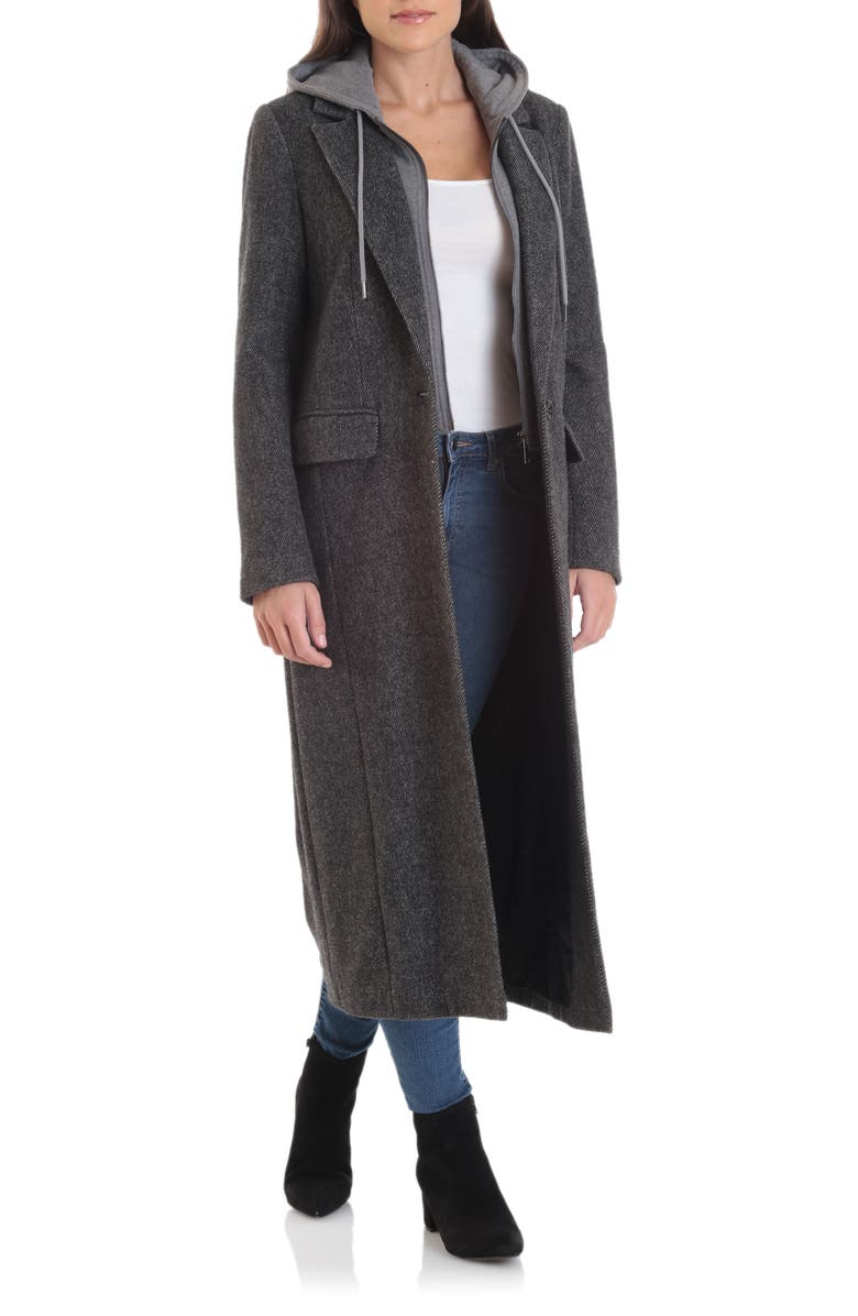 AVEC LES FILLES Moto Wool Blend Coat with Removable Hooded Bib, Main, color, 001