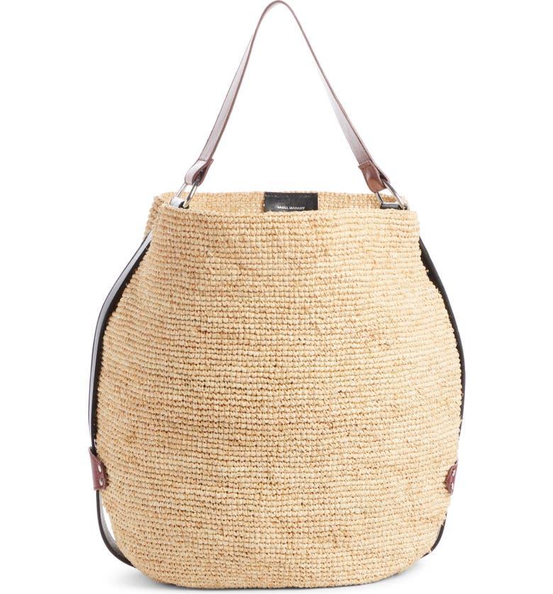 ISABEL MARANT Bayia Straw Handbag, Main, color, NATURAL