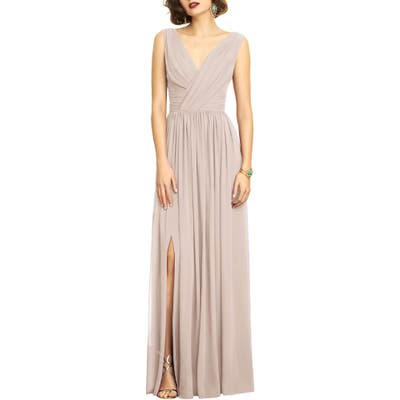 Dessy Collection Lux V-Neck Chiffon Gown, Beige