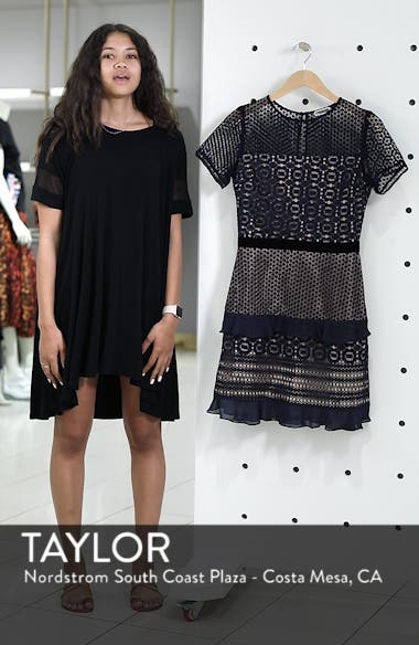 Velveteen Belt Lace Sheath Dress, sales video thumbnail