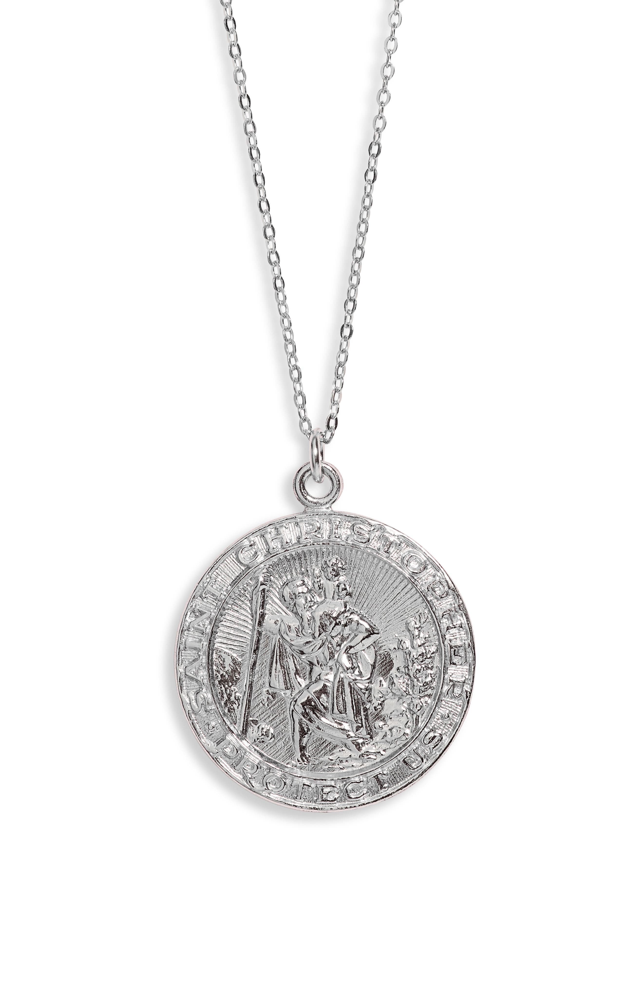 The patron saint of travelers features prominently on the etched pendant of this long, handcrafted necklace that serves as a protective accessory. Style Name: Set & Stones Saint Christopher Pendant Necklace. Style Number: 6093884. Available in stores.