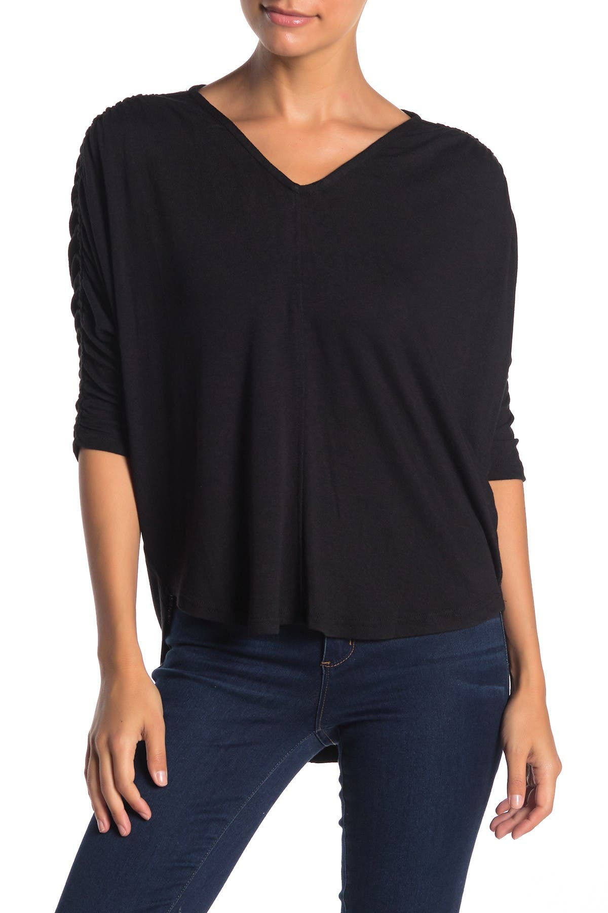 Image of H By Bordeaux 3/4 Sleeve Dolman Sleeve Ruched Top