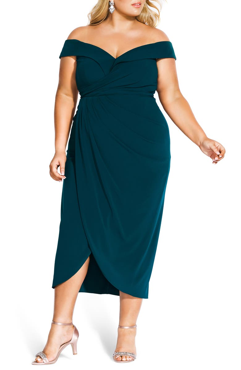 CITY CHIC Rippled Love Off the Shoulder Sheath Dress, Main, color, EMERALD