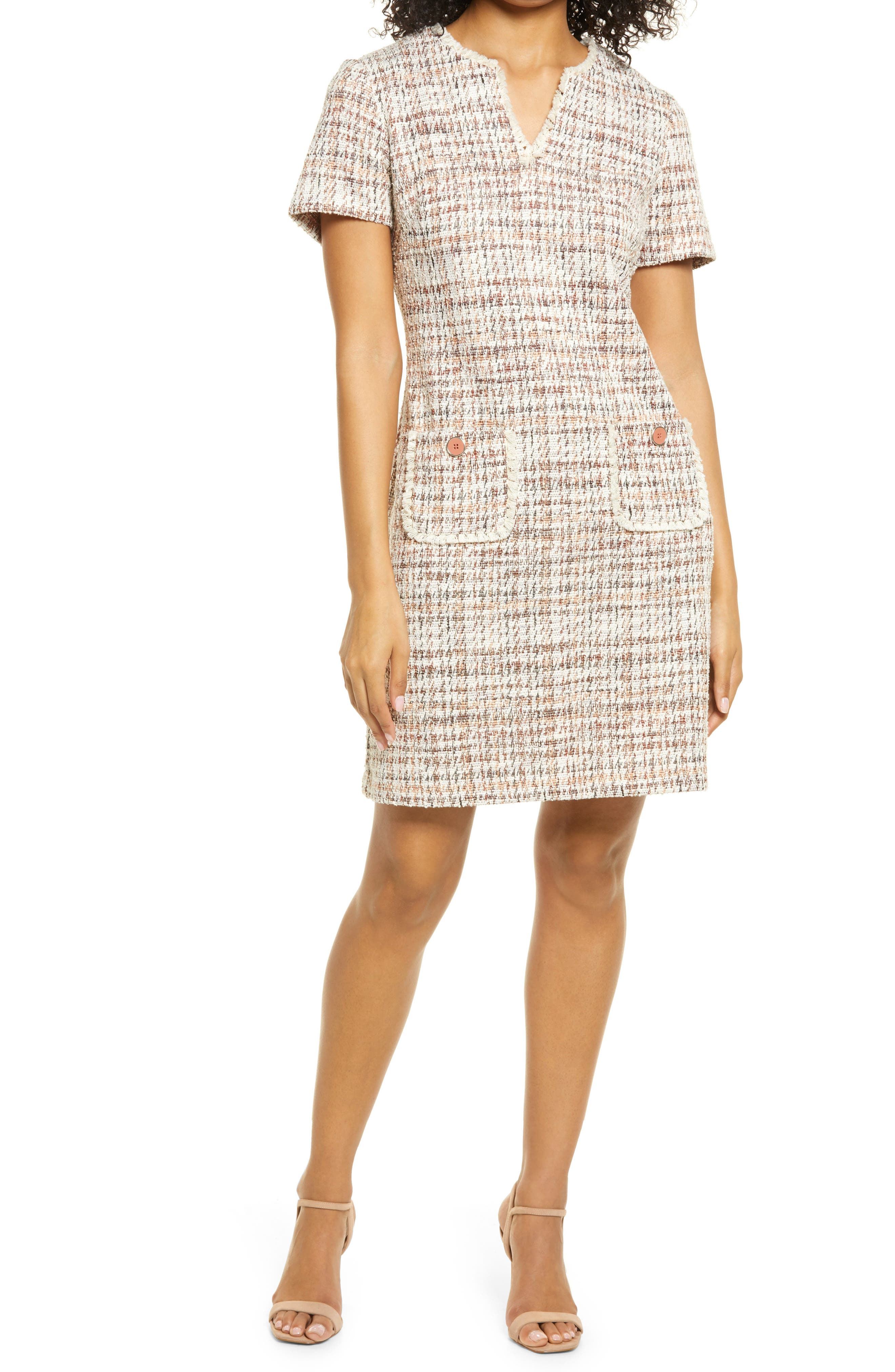 Tweed Pocket Detail Dress