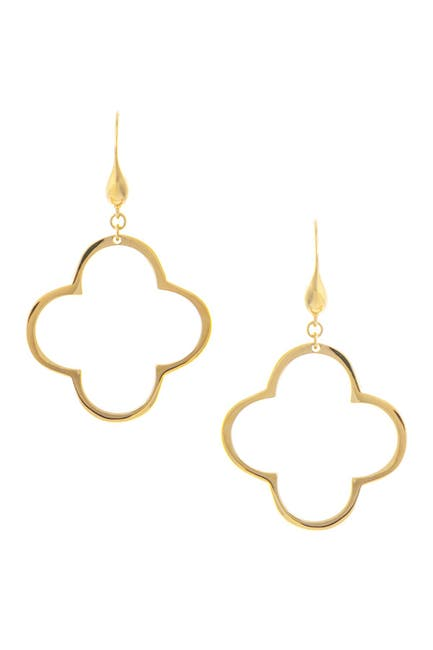 Image of Rivka Friedman 18K Gold Clad Polished Clover Hook Earrings