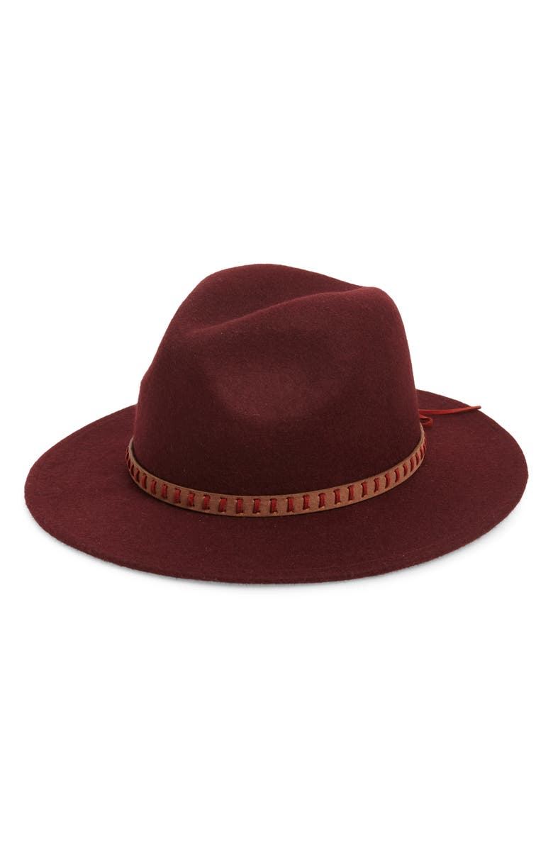 TREASURE & BOND Wool Felt Panama Hat, Main, color, BURGUNDY