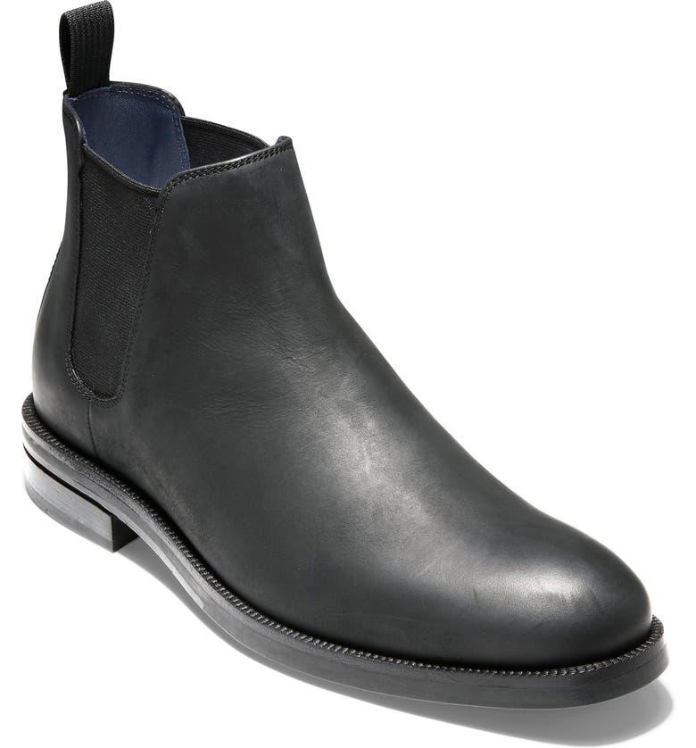 COLE HAAN Wakefield Grand Waterproof Chelsea Boot, Main, color, BLACK NUBUCK/ BURGUNDY LEATHER