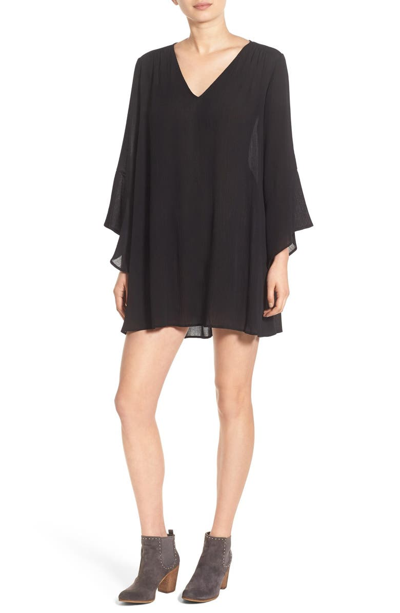 --- Whitney Bell Sleeve Woven Shift Dress, Main, color, 001
