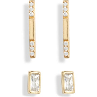 Argento Vivo Set Of 2 Cubic Zirconia Geo Stud Earrings