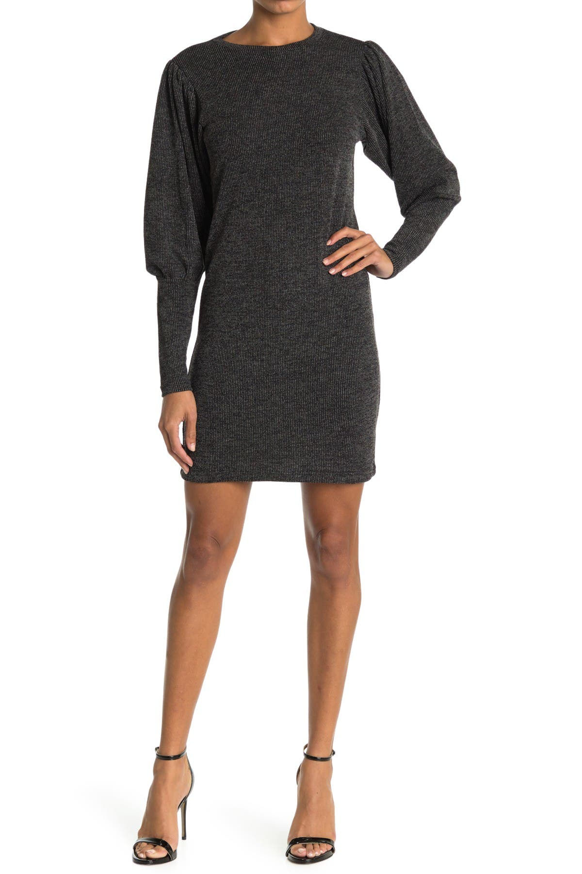Image of Cloth By Design Rib Balloon Sleeve Hacci Sweater Dress