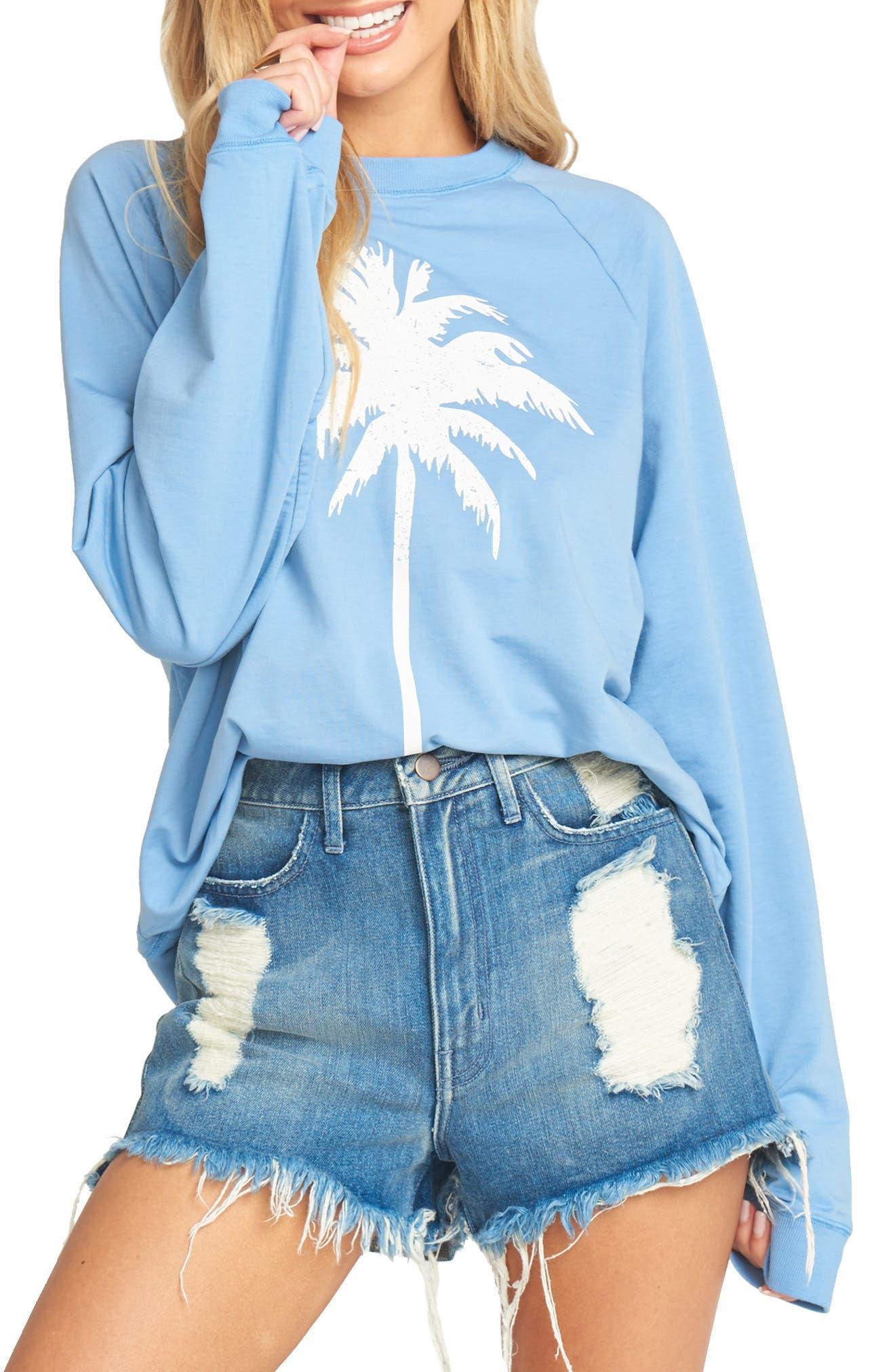Show Me Your Mumu Simon Palm Tree Cotton Blend Sweatshirt, Blue
