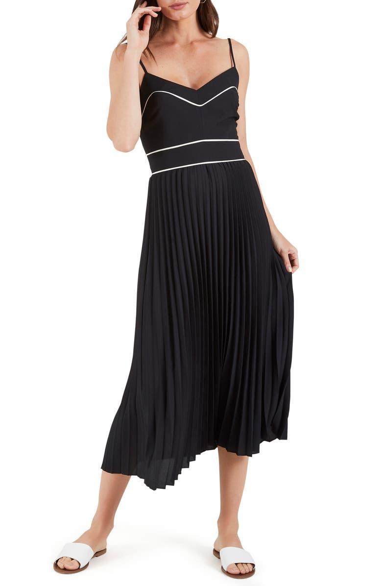COOPER ST . Zuri Pleated Midi Dress, Main, color, BLACK