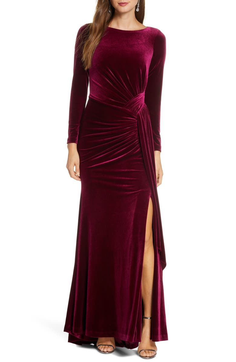 VINCE CAMUTO Long Sleeve Velvet Gown, Main, color, WINE