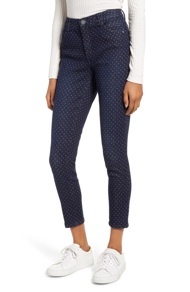 WIT & WISDOM Ab-Solution Dot High Waist Ankle Skinny Jeans, Main, color, INDIGO
