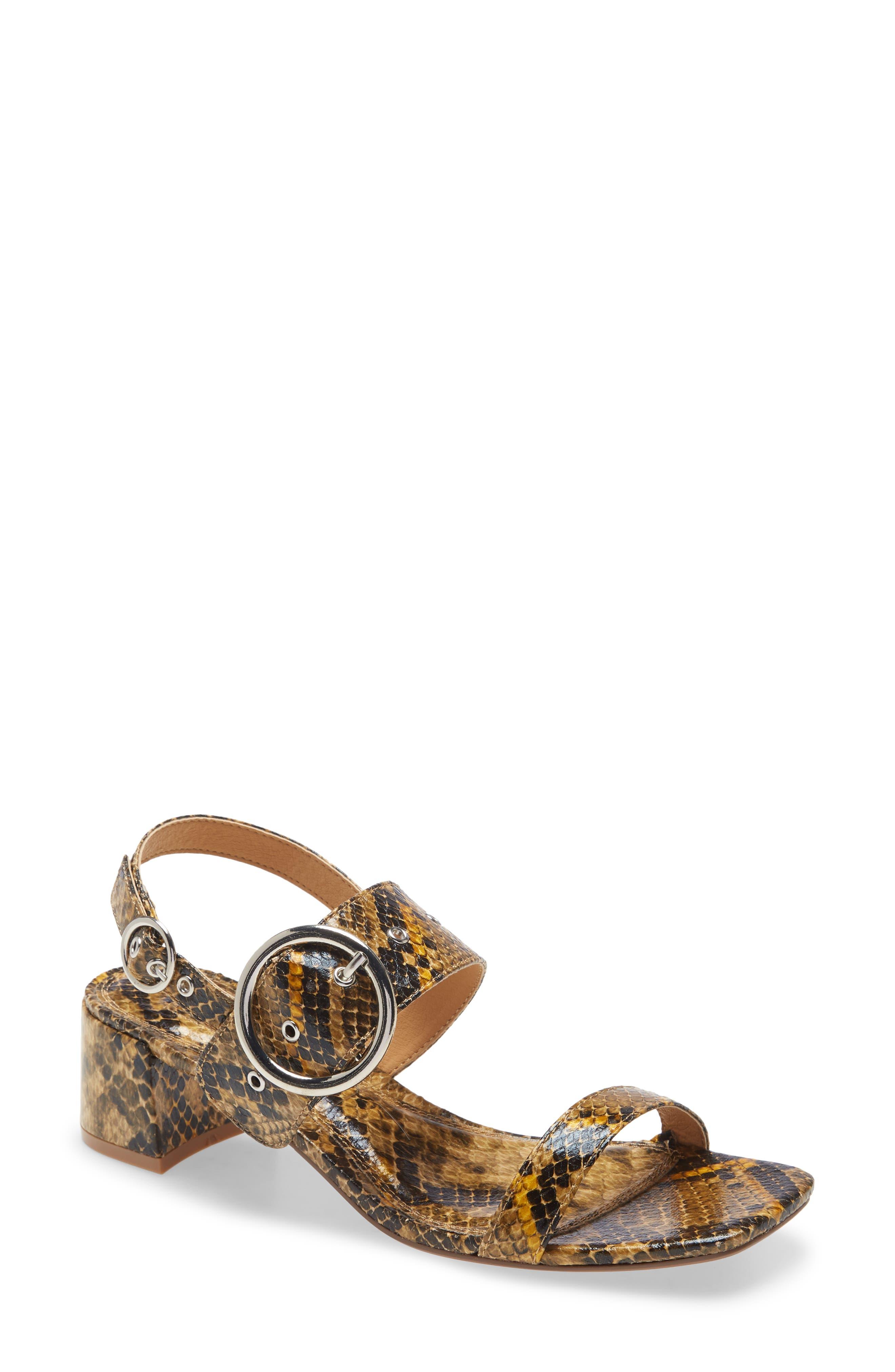 Image of TOPSHOP Dakota Snake Embossed Slingback Sandal