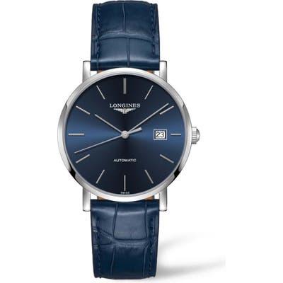 Longines Elegant Automatic Leather Strap Watch,