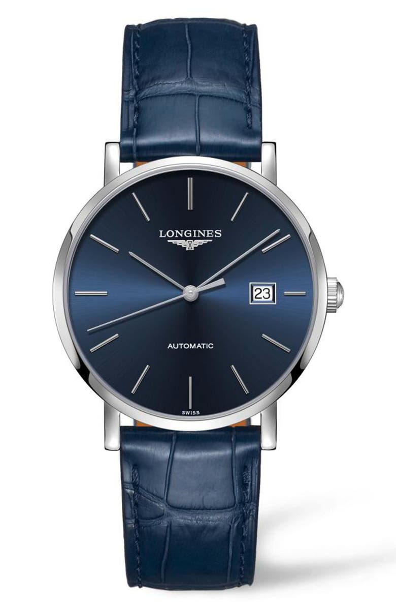 LONGINES Elegant Automatic Leather Strap Watch, 39mm, Main, color, BLUE/ SILVER