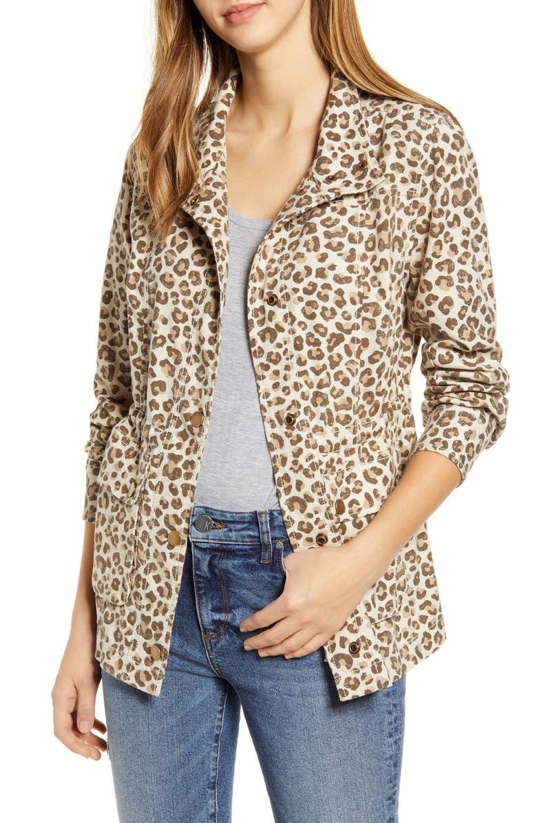 CASLON<SUP>®</SUP> Cinch Waist Linen Blend Utility Jacket, Main, color, 270