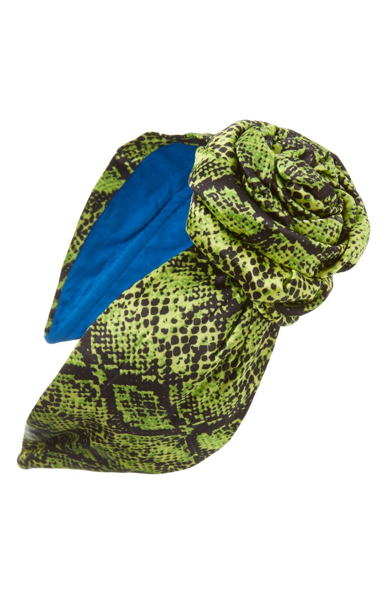 NAMJOSH Snake Print Bun Headband, Main, color, LIME/ BLACK