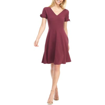 Gal Meets Glam Collection Serena Tie Cuff Fit & Flare Dress, Burgundy