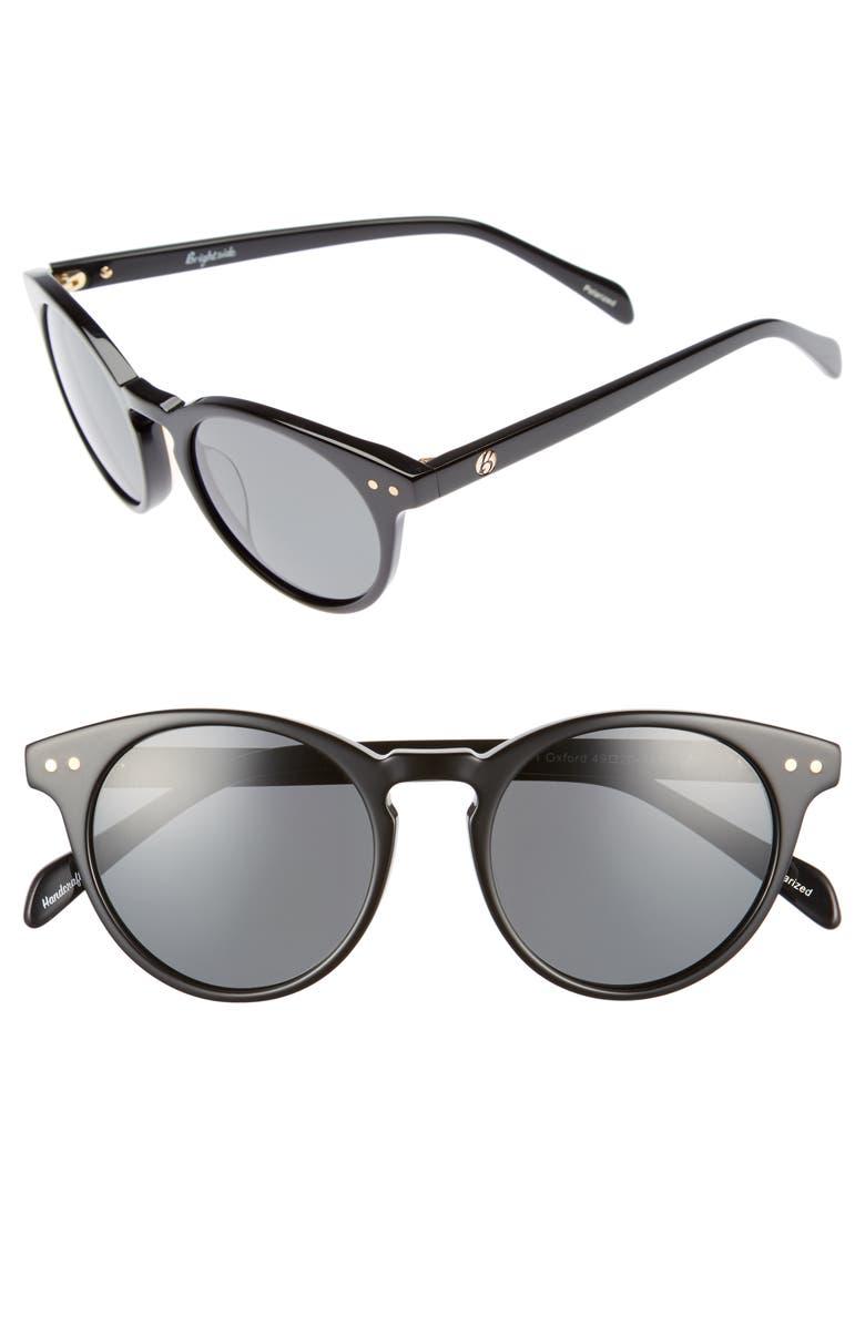 BRIGHTSIDE Oxford 49mm Polarized Sunglasses, Main, color, BLACK/ GREY POLAR