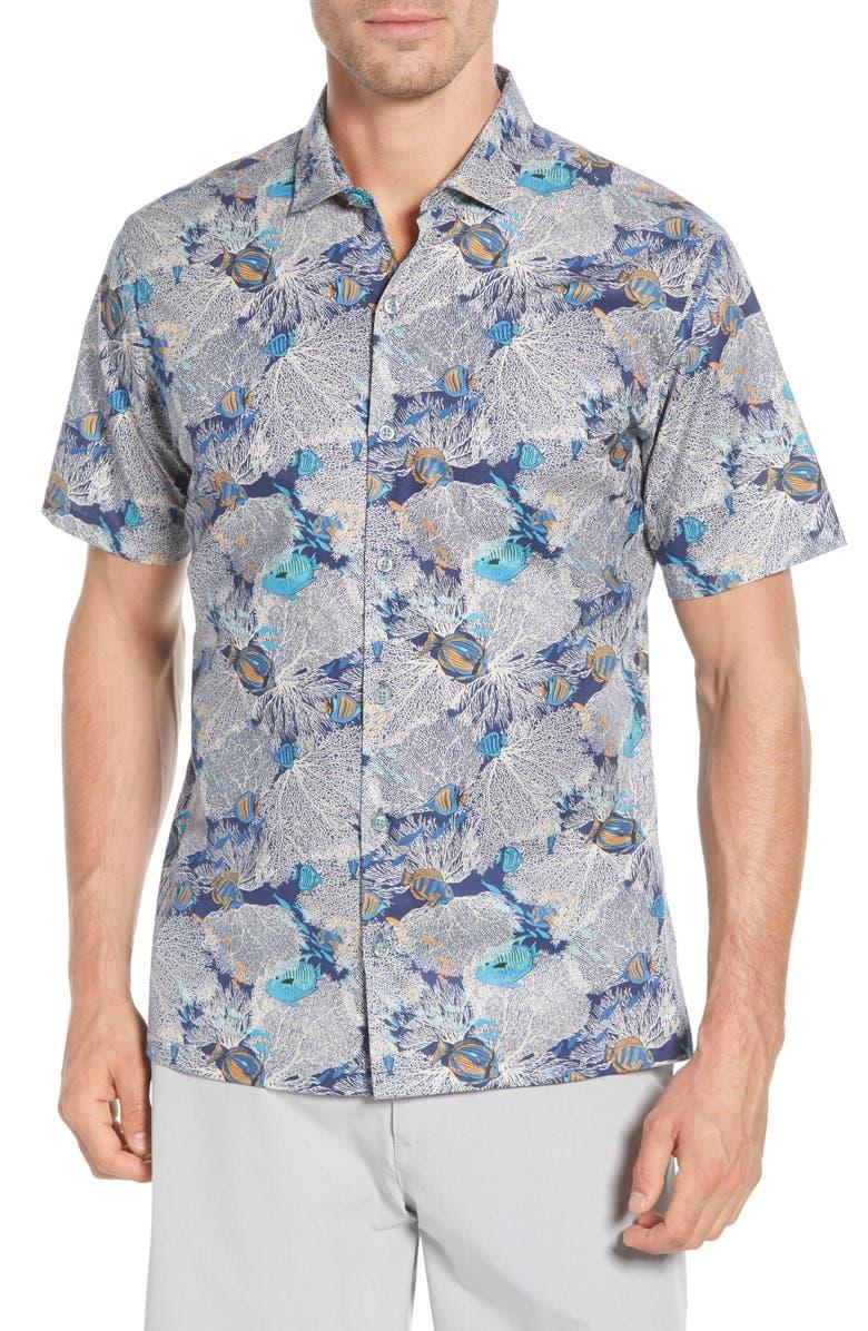 TORI RICHARD Fan Fair Classic Fit Tropical Short Sleeve Button-Up Shirt, Main, color, NAVY