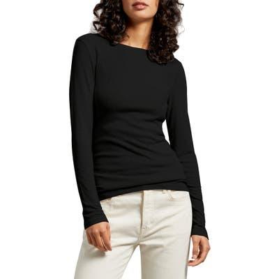Michael Stars Kristen Long Sleeve Crewneck Tee, Size One Size - Black