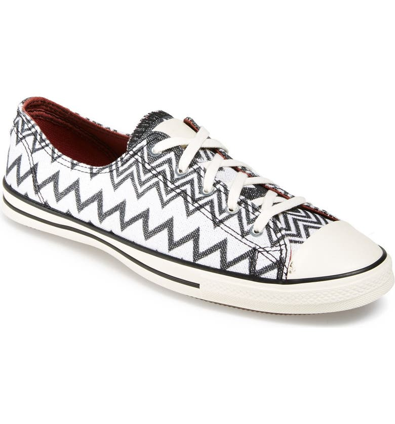 CONVERSE x Missoni Chuck Taylor<sup>®</sup> All Star<sup>®</sup> 'Fancy' Ox Sneaker, Main, color, BLACK/ EGRET