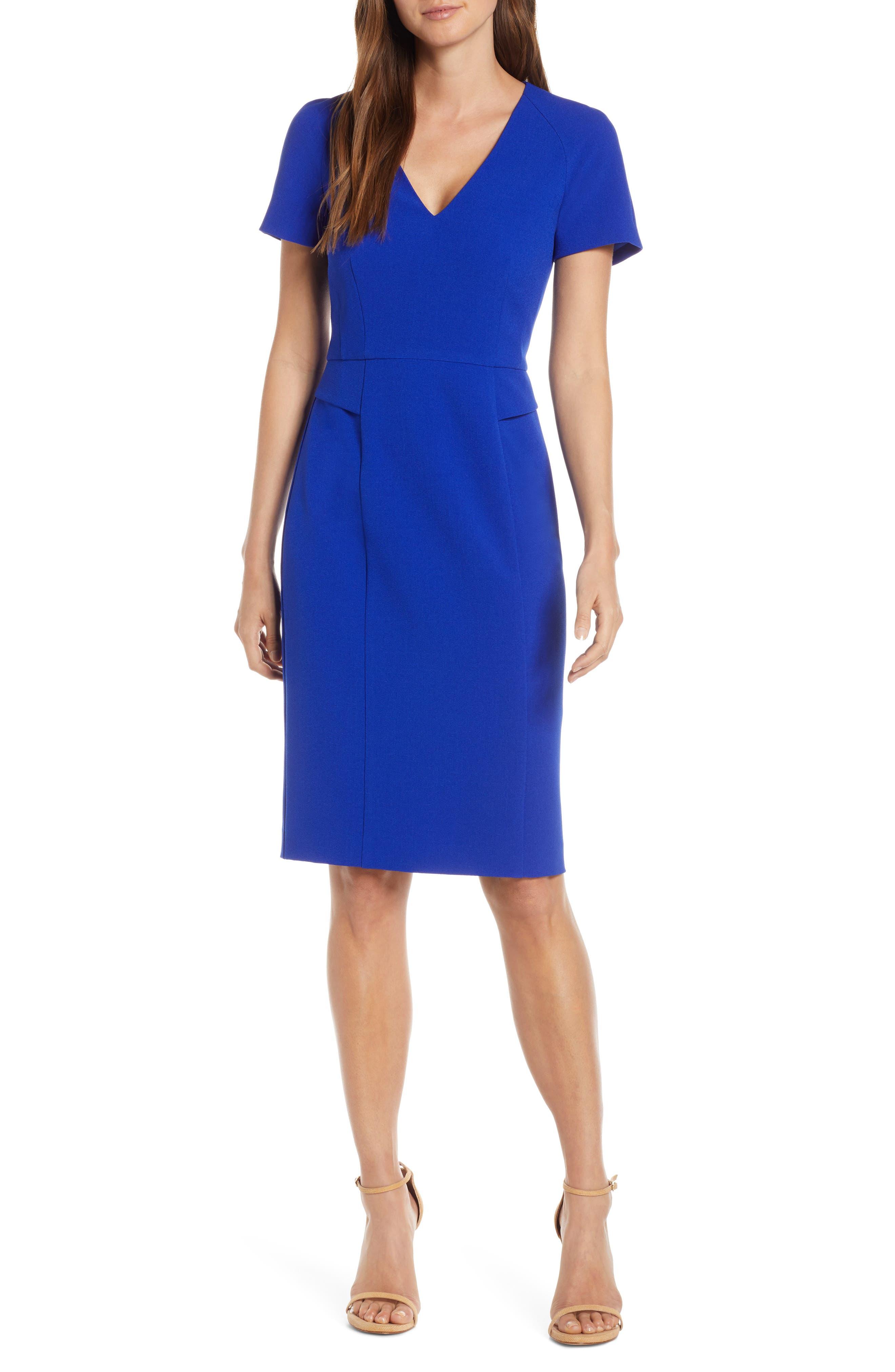 Harper Rose Short Sleeve V-Neck Sheath Dress, Blue