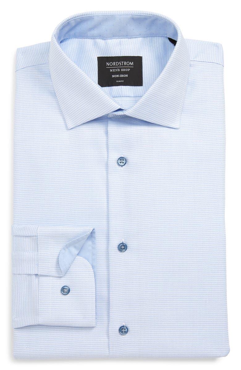 NORDSTROM MEN'S SHOP Trim Fit Non-Iron Solid Dress Shirt, Main, color, BLUE PROVENCE