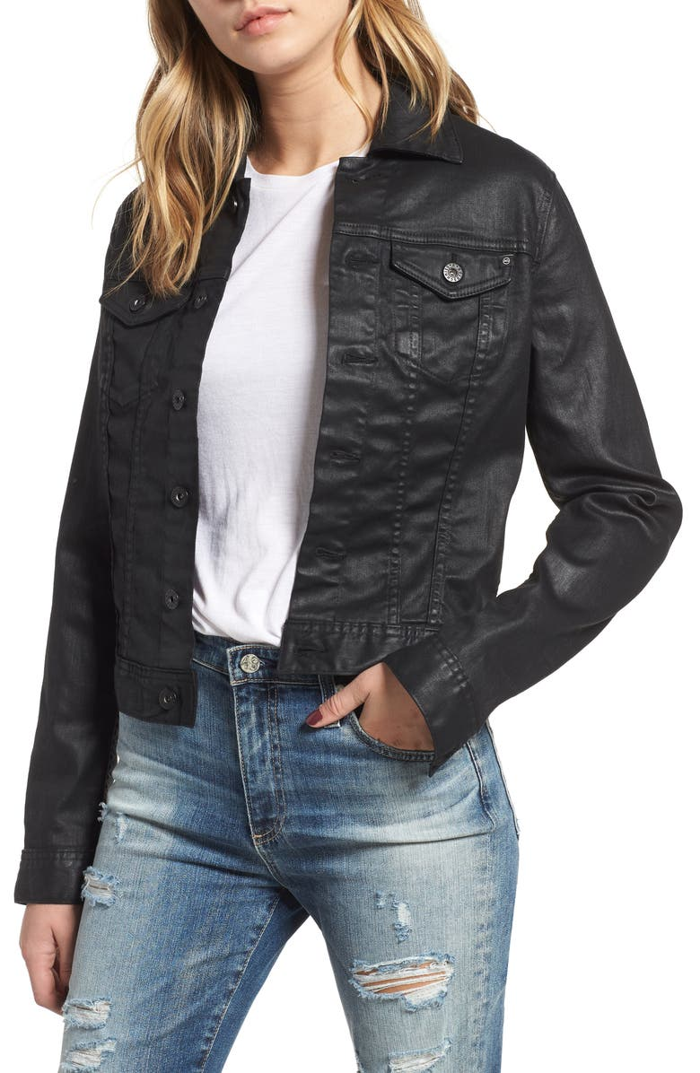 AG Robyn Denim Jacket, Main, color, LACQUERED PURE BLACK