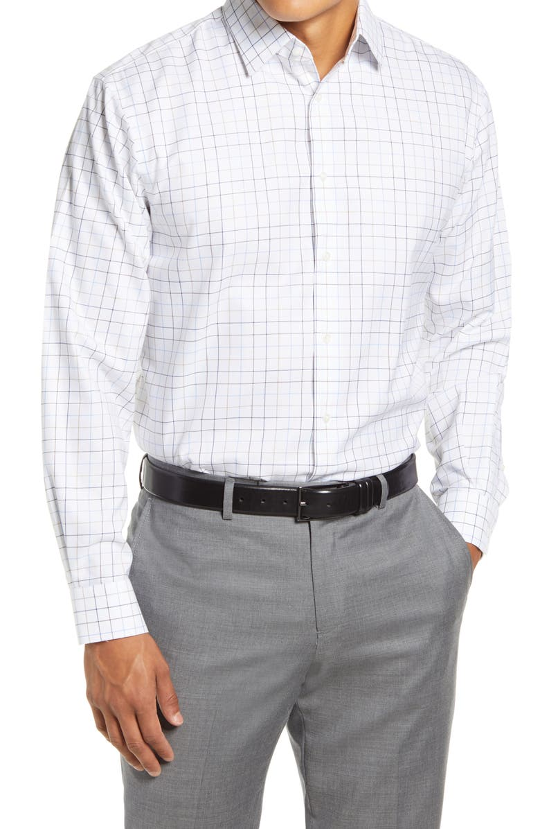NORDSTROM MEN'S SHOP Traditional Fit Non-Iron Windowpane Stretch Dress Shirt, Main, color, BROWN SADDLE