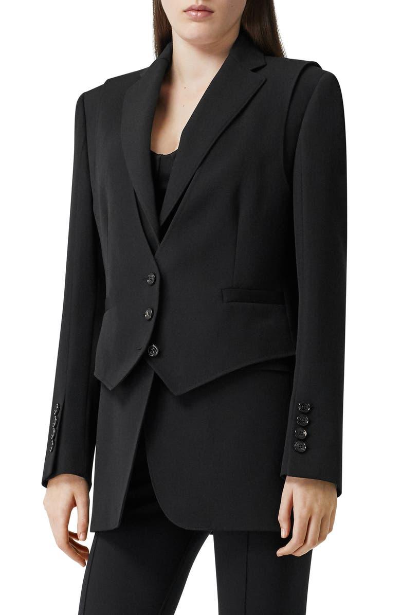 BURBERRY Titouan Double Layer Wool Blazer, Main, color, BLACK