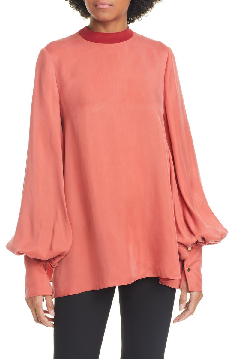ROKSANDA Bishop Sleeve Silk Blouse, Main, color, RUSSET