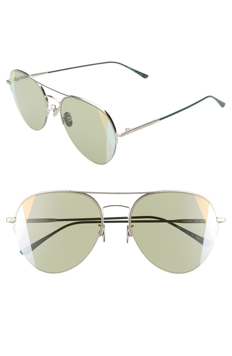 BOTTEGA VENETA 58mm Mirrored Aviator Sunglasses, Main, color, SILVER/ GREEN
