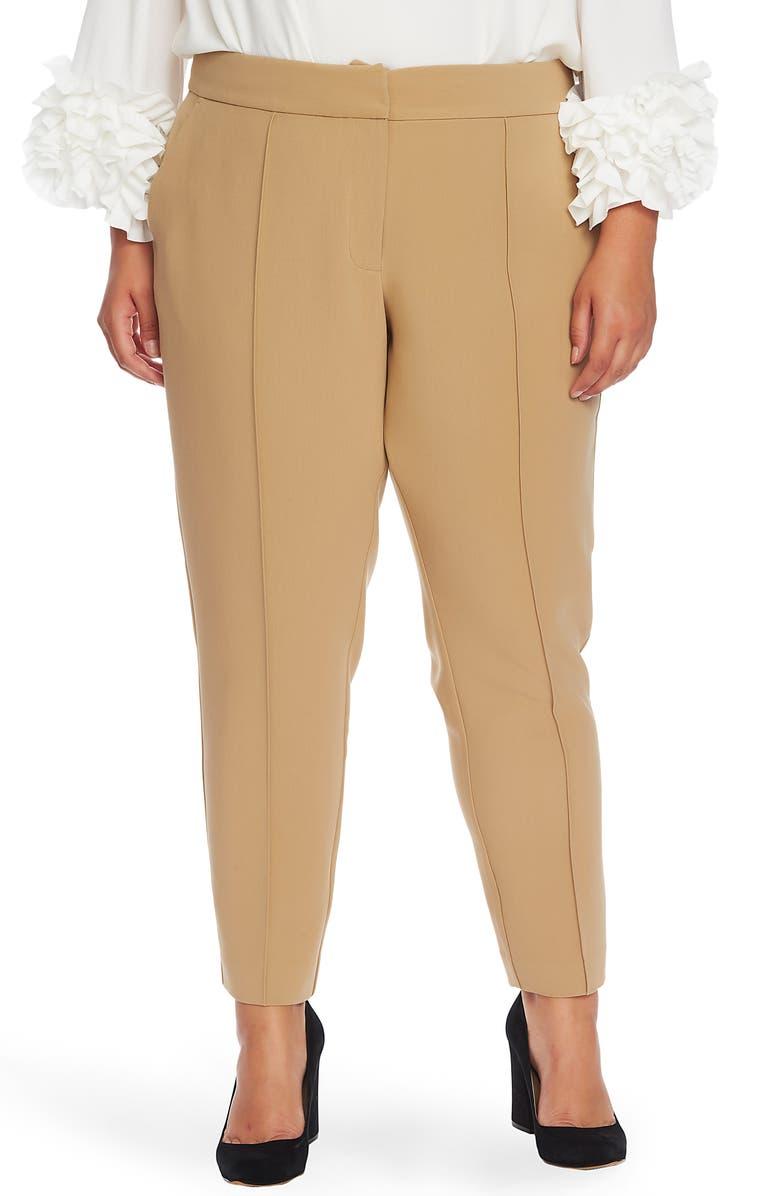 VINCE CAMUTO Pintuck Seam Crepe Pants, Main, color, LATTE