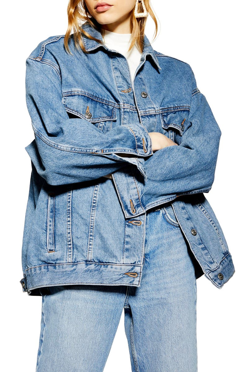 TOPSHOP Oversize Denim Jacket, Main, color, MID DENIM