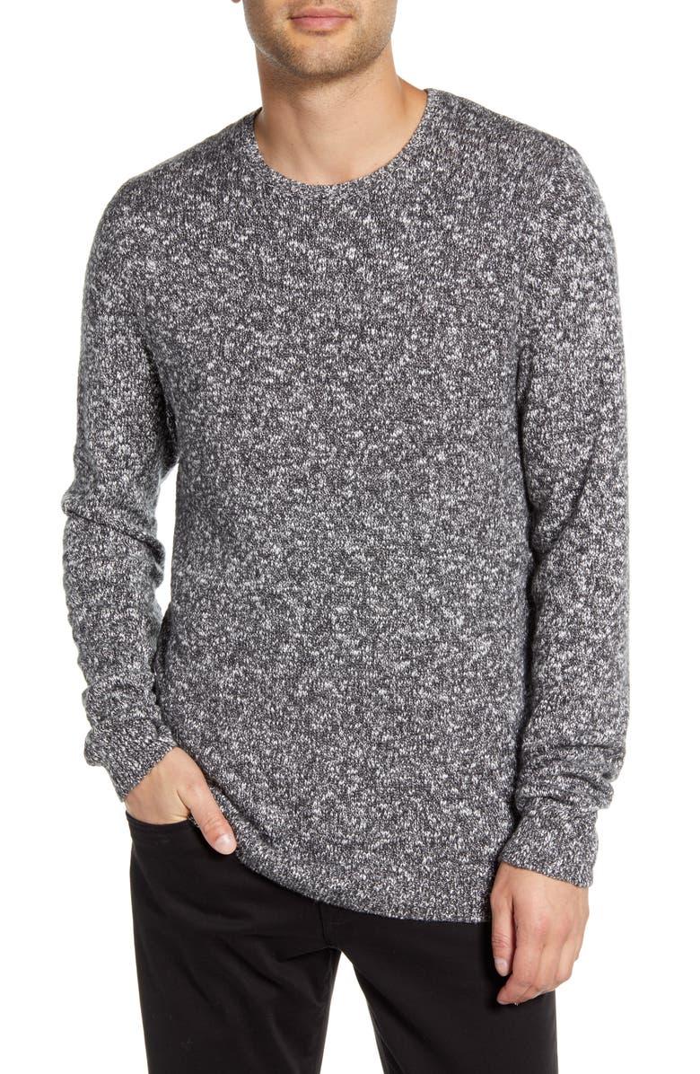 CALIBRATE Slub Crewneck Sweater, Main, color, WHITE BLACK TWIST