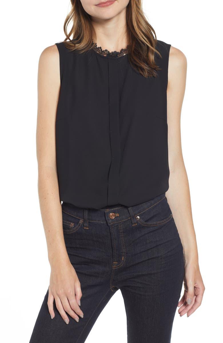 MING WANG Lace Trim Sleeveless Blouse, Main, color, BLACK