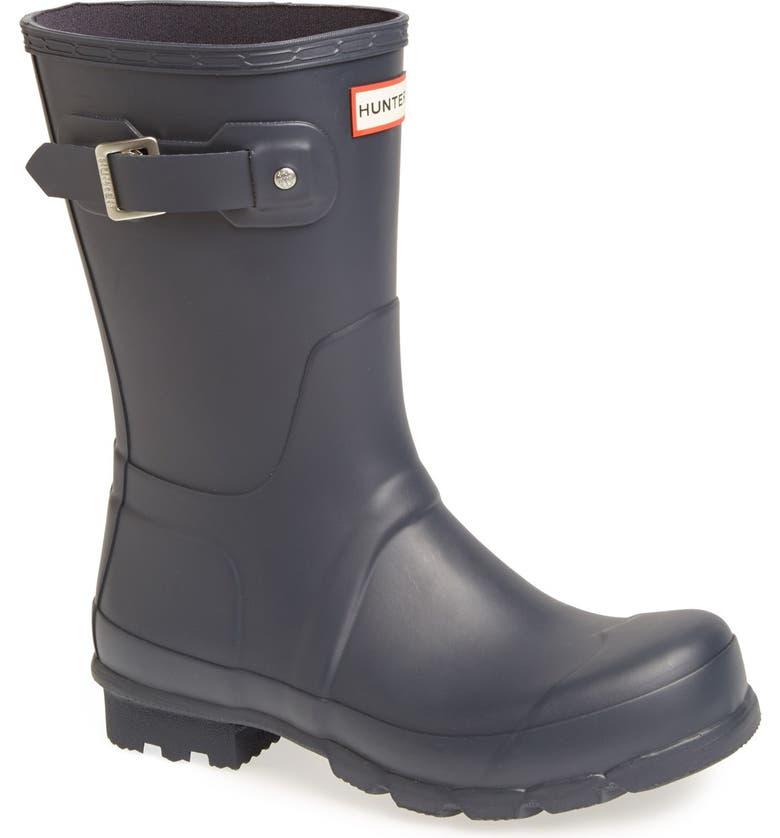 HUNTER Original Short Waterproof Rain Boot, Main, color, NAVY