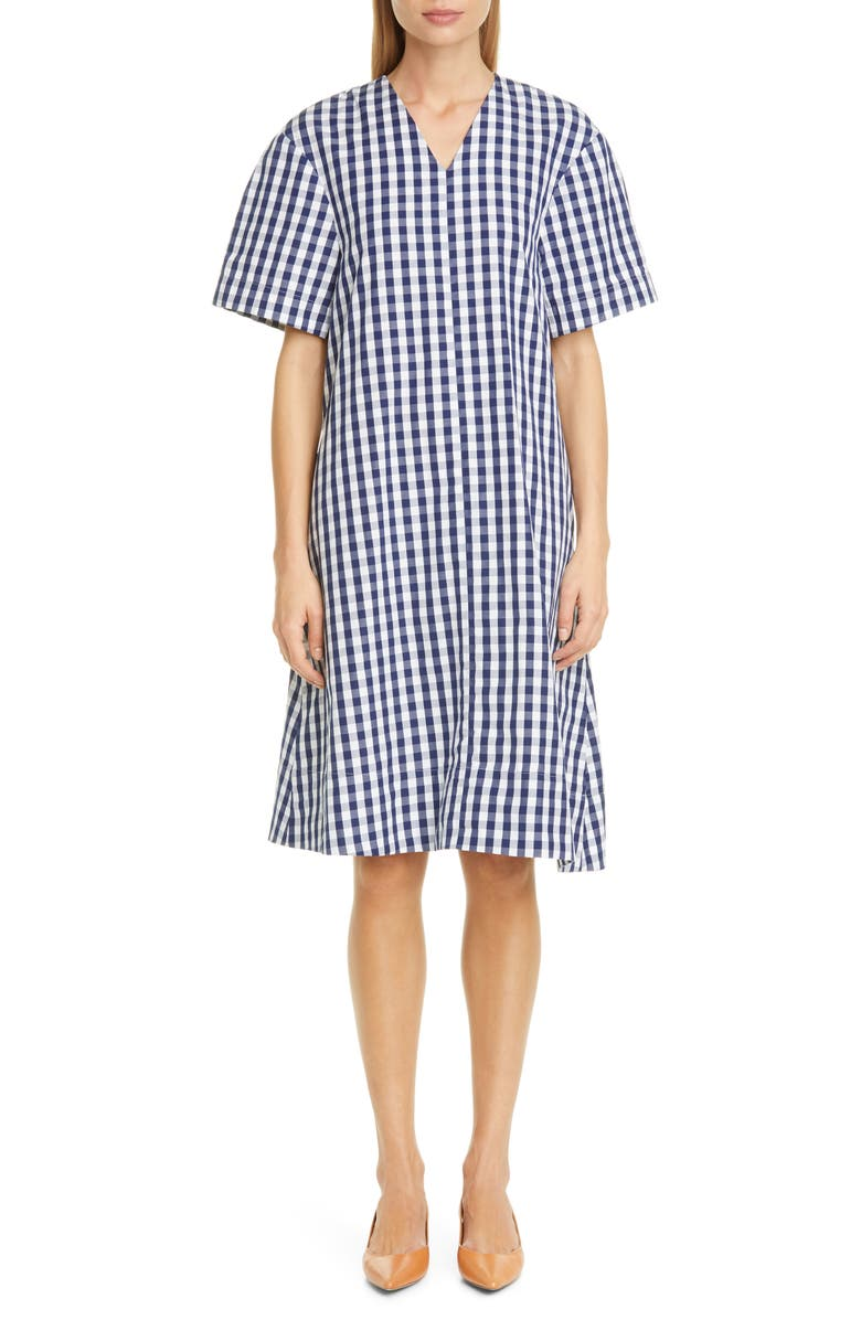 MANSUR GAVRIEL Gingham Shift Dress, Main, color, BLUE / WHITE