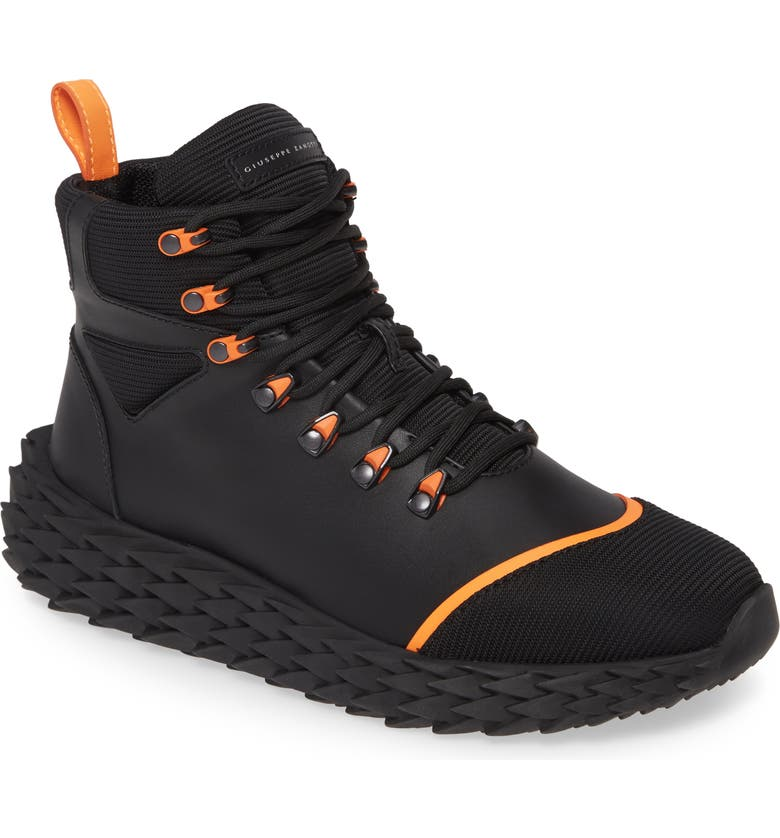 GIUSEPPE ZANOTTI Urchin Sneaker, Main, color, BLACK/ ORANGE
